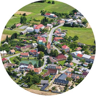 Letecké fotografování obce Drahany