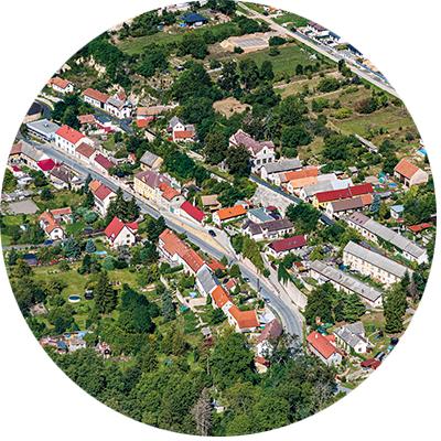 Letecké fotografování obce Kropáčova Vrutice