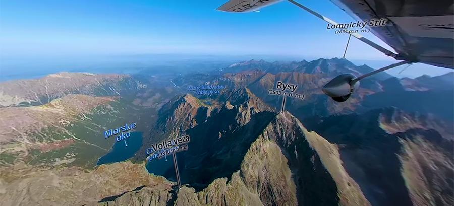 Vysoké Tatry z nebe - 360° virtuální video-mapa v 4K